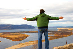 freedom of man in nature Royalty Free Stock Photo