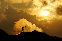 Freedom man in sunset Stock Photo