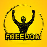 Freedom man, The Winner. Graphic vector Stock Photography