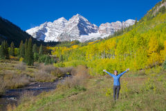 Freedom at Maroon Bells Royalty Free Stock Image