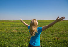 Freedom, the miracle of nature. Woman with hands up - freedom, hope, relax and rehab concept Royalty Free Stock Image