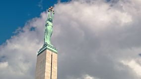 Freedom Monument of Latvia. The symbol of Latvia`s independence - the Freedom Monument stock footage