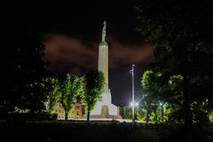 Freedom monument in night. Freedom monument night is beautiful in Latvia Riga Royalty Free Stock Images
