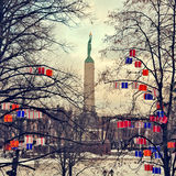 Freedom monument in Riga Stock Photo