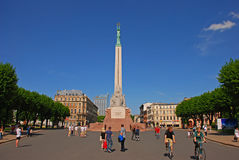 Freedom Monument square at the entrance to Riga old town Latvia Stock Image