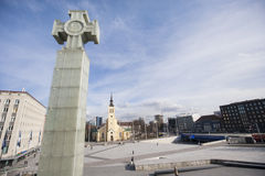 Freedom monument with St. John's Church at freedom square, Tallinn, Estonia, Europe Royalty Free Stock Image