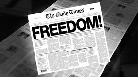 Freedom! - Newspaper Headline (Intro + Loops). Newspapers coming off the press. Cover page spins on. First 1 second is a blank loop. Then the newspaper spins on stock footage