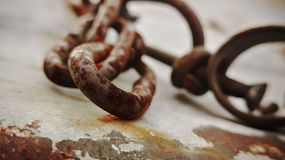 Freedom from old rusty shackles Royalty Free Stock Photos