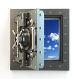 Freedom. Opening vault door and sky behind it. Stock Image