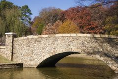Freedom Park Bridge. The Bridge at Freedom Park in Charlotte, NC in Autumn stock images