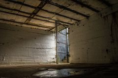 Open cell door leading to freedom Stock Images