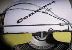 Freedom of press concept. Old typewriter and text as a concept on the ever more threatened freedom of press Royalty Free Stock Photo