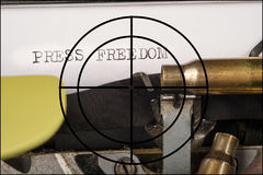 Freedom of press concept. Old typewriter and text as a concept on the ever more threatened freedom of press Stock Image