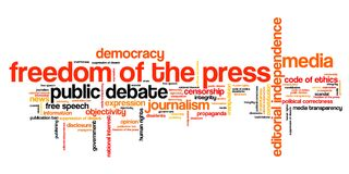 Freedom of the press. Issues and concepts word cloud illustration. Word collage concept stock illustration