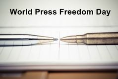 Freedom of the press. Pen vs. Bullet / Freedom of the press is at risk concept / World press freedom day concept Royalty Free Stock Images