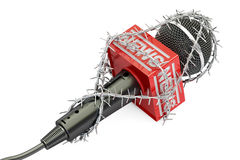 Freedom of press prohibition concept. Microphone with barbed wir. E, 3D rendering on white background Royalty Free Stock Image