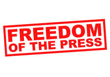 FREEDOM OF THE PRESS. Red Rubber Stamp over a white background Royalty Free Stock Photography