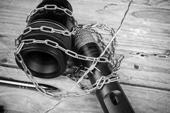 Freedom of press. Threats against freedom of press, a concept Stock Photography