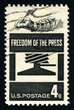 Freedom of the Press US Postage Stamp. UNITED STATES OF AMERICA - MARCH 1ST 2016: A used postage stamp prnted in America celebrating the Freedom of the Press Stock Photo