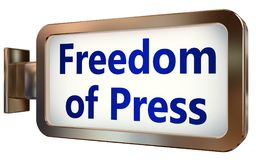 Freedom Of Press on billboard background. Freedom Of Press wall light box billboard background , isolated on white Stock Image