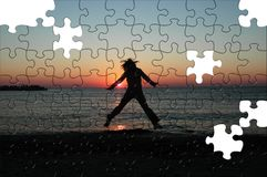 Freedom puzzle. Success puzzle Stock Image