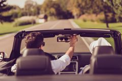 Freedom, reach destination, honeymoon, relationship, relax, romance, enjoy escape, speed ride lifestyle. Carefree cheerful dreamy royalty free stock photo