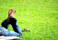 Freedom relaxing in the park Royalty Free Stock Photos