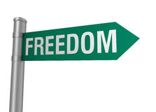 Freedom road sign. 3d concept illustration on white background Royalty Free Stock Photo