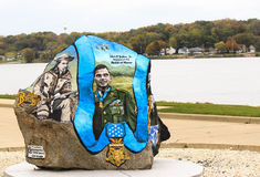Freedom Rock. This freedom rock was one of many painted by Ray Bubba Sorensen in Le Claire, Iowa Royalty Free Stock Photo