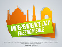 Freedom Sale Tag for Indian Independence Day. Stock Photo
