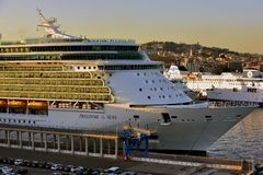 Freedom of the Seas in the port of Naples Stock Photos