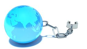 Freedom. Shackles and globe Royalty Free Stock Image