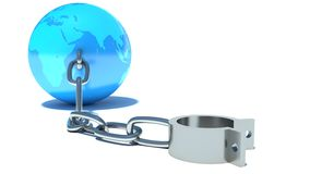 Freedom. Shackles and globe Stock Image