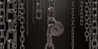 Freedom or Slavery. Chains and padlock symbolizing the freedom and also the slavery Stock Photo