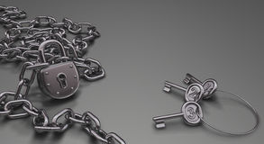 Freedom or Slavery. Chains and padlock symbolizing the freedom and also the slavery Stock Image