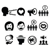 Freedom of speech, human rights, freedom of expression, censorship concept -  icons set Stock Image