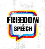Freedom Of Speech. Inspiring Creative Social Vector Typography Banner Design Concept On Grunge Wall Background royalty free illustration