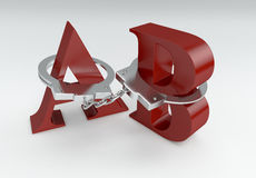 Freedom of speech. Letters a and b with handcuffs, concept of lack of freedom of speech (3d render Stock Photography