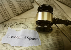 Freedom of Speech message. On US Consitution with court gavel -- First Amendment concept Royalty Free Stock Photos
