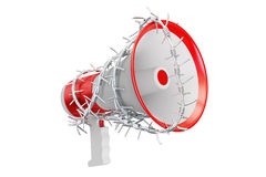 Freedom of speech prohibition concept. Megaphone with barbed wir. E, 3D rendering on white background Stock Photography