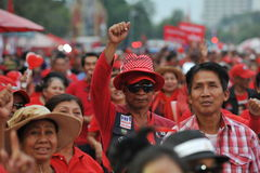 Freedom of Speech Rally. Red-shirt demonstrators join a large rally on the Royal Plaza to protest against Thailand's strict Lese Majeste law and legal restraints Stock Images