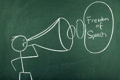 Freedom of Speech. Stick figure with Freedom of Speech words Stock Photo
