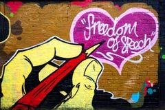 Freedom of speech wall graffiti. Freedom of speech graffiti art. Brick Lane, London, UK Royalty Free Stock Images
