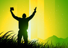 Freedom and Spirituality. Green background Royalty Free Stock Images