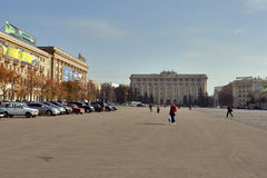 Freedom Square in Kharkov, Ukraine. Freedom Square in Kharkiv is the 6-th largest city-centre square in Europe. It is approximately 690–750 meters long and 96 Royalty Free Stock Image
