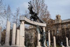 Freedom Square. Monuments to victims of German and Hungarian Nazism. In Budapest Hungary stock photography