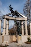 Freedom Square. Monuments to victims of German and Hungarian Nazism. In Budapest Hungary stock images