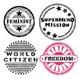 Freedom stamps series. Freedom social issues retro stamps series isolated on white Stock Images