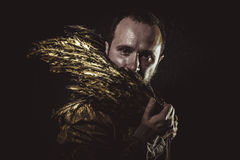 Freedom Steampunk, man beard and suit made with golden wings Stock Photos