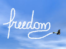 Freedom text from biplan smoke - 3D render Royalty Free Stock Photography